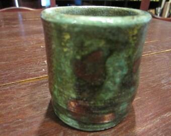 Raku shotglass or candle holder