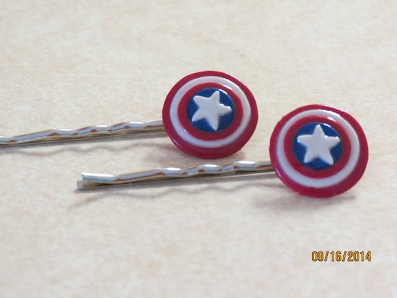 Marvel's The Avengers polymer clay Captain America shield bobby pin - Set of 2