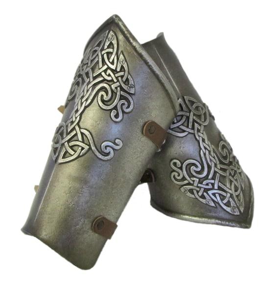 Larp Armor, Celtic Tree Yggdrasil vambraces, bracers, vanbrace