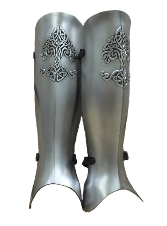 Larp Armor, Celtic Tree Yggdrasil greaves, leg armor, medieval armor