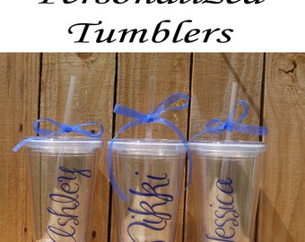 Personalized Bridesmaid Tumblers Glass Set of 5 Personalized Tumbler, Bridesmaid Gift, Bachelorette Party, Bridesmaid Glass