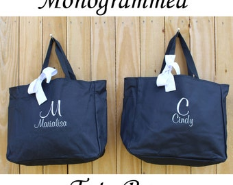 Wedding Tote, Bridesmaids Gifts, Bridesmaid Tote Bag, Personalized Wedding Bag, Bridal Party Gift, Monogrammed Bridal Party Tote, Day Of