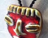 Handmade in Venezuela, AZTEC Face Pendant, 60's Vintage Ceramic BOHO Necklace