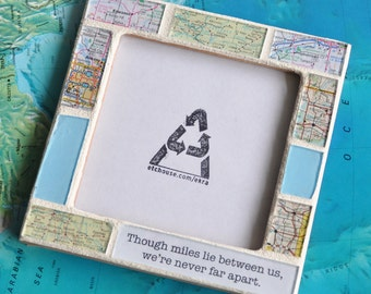 Boyfriend Gift Long Distance Relationship Atlas Map Custom Text Photo Picture Frame