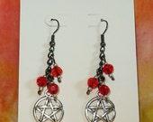 Wiccan Pentagram GunMetal and Red Glass earrings
