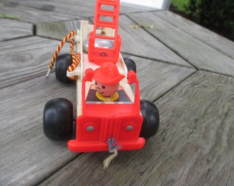 Vintage 1968 Fisher Price Fire Truck Pull Toy