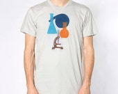 Science! Tee - Mens Hand Stenciled Crew Neck Graphic T-Shirt in Grey Blue Orange and Brown - XS S M L XL 2XL 3XL