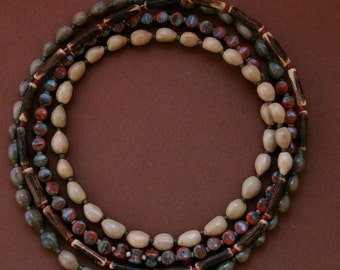 long beaded necklace with natural seeds, wood and glass beads - layering boho jewelry - wood necklace - ethnic style