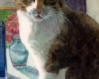 Tabby Cat Portrait Animals Watercolor Art Painting Print Matted to 11x14 DelPesco