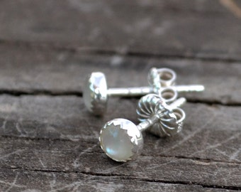 mother of pearl and sterling silver tiny stud earrings