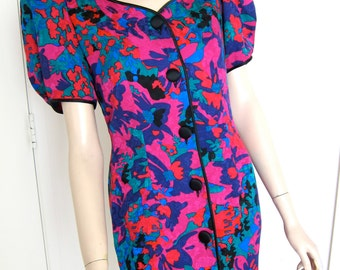80s Flora Kung Cocktail Dress Silk Floral - 1980s Vintage - Jewel Tones Abstract Floral Print - Back Bow - 4 Small - Flora Kung New York