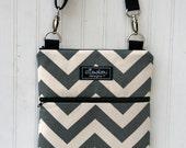 Kindle / iPad Mini / Nook / eReader / Padded Sling Bag- Gray Chevron