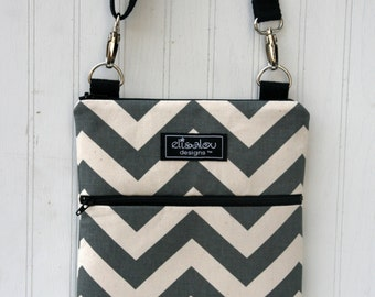 Kindle / iPad Mini / Nook / eReader / Padded Sling Bag- Gray Chevron