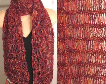 Scarf Hand Made Knit Mohair Chenille Boucle Red