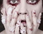 All The Soarings Of My Mind - FREE SHIPPING - Print Blood Face Eyes Bandages Surreal Conceptual Horror Creepy White Red Hands Closeup