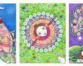 Set of 3 Large ( A3 Size) Art Prints Of Your Choice - Nursery Childrens Art - Whimsical Folk Art Print - Dream Series