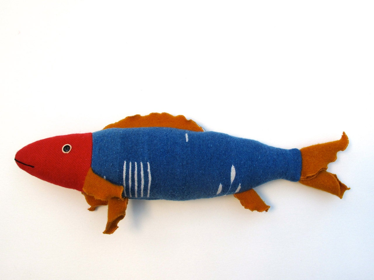 Fresh Fish Pillow Blue Red And Gold