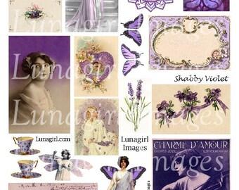SHABBY VIOLET purple digital collage sheet DOWNLOAD vintage images antique carte ephemera printable altered art images wings women lavender