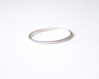 Tiny Twist Ring Sterling Silver Stacking