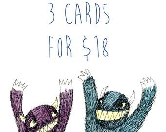 Bulk Square Greeting Card: You Choose 3 Cards for 18 dollars AU
