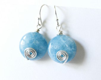 Aquamarine earrings. Sterling silver. Blue Calcite. Wire wrapped spiral.