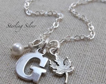 Maple Leaf Charm Necklace, Personalized Initial And Birthstone Jewelry, Silver Maple Leaf Charm, Personalized Gift, Autumn Necklace
