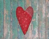 Primitive Heart - Antique Quilt Heart - Rustic Wedding Decor - Heart Bowl Filler - Heart Ornament - Christmas Ornament - Red White Purple