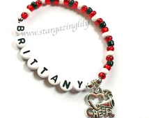 I LOVE to CHEER Charm Bracelet Personalized Name Bracelet Cheerleading Jewelry Party Favor Child Kids Teen Adult Sizes