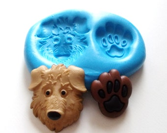 Dog's Head and Paw Silicone Mold Mould  - Polymer Clay Sugarpaste Fimo Resin Icing Cake Decorating