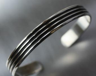 Mens Bracelet, Wide Cuff, Silver