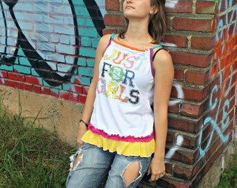 White Tank Top Colorful Halter Top Gay Pride Shirt Lesbian Tank Top LGBT Tunic Rebel Family Shirt Small Ruffled Tank Top Recycled clothing