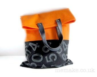 Typography tote bag orange black Helvetica numbers print grey black blue leather handles large purse memake handmade handbag