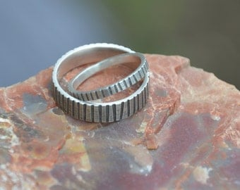 Sprocket Changing Gears Sterling Silver Wedding Band Set