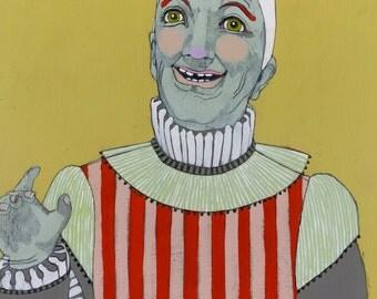 Clown - original art painting on oval wood panel
