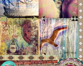 INSTANT DOWNLOAD - Art Journal Digital Collage Sheet - mAkE mAgIc