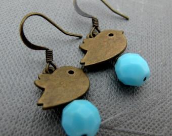 Little Blue Birds Earrings // Sky Blue Glassbeads // Brass Birds Charm // Gift under 15