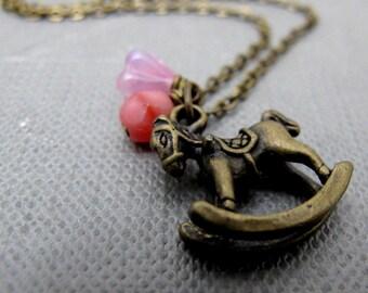 "My Petite Rocking Horse Necklace // Brass Rocking Horse Charm // Pink Flower Glassbead // 17"" Brass Chain // Childhood Toy //  Last Piece"