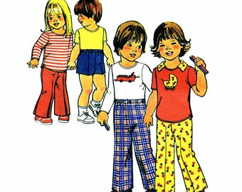 1970s Toddlers Pullover Top Pants Shorts Girls Boys Simplicity 7061 Vintage Sewing Pattern Childrens Size 3