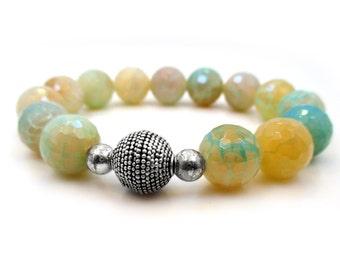 Agate Bracelet. Stretch Bracelet. Stackable Bracelet. Beaded Bracelet. Gemstone Bracelet. Boho Bracelet. Meditation Bracelet - SUNSET BEACH