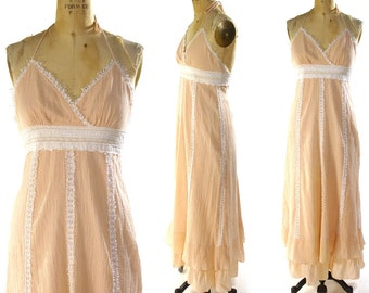 SALE Gunne Sax Sundress / Renaissance / Hippie / Peasant / Bridal / Festival Dress in Pale Pink Gauze / Vintage 1970s