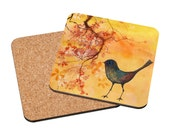 Art Coasters Mix & Match - Dab of Inspiration - colorful robin bird painting hanging blossoms sunset landscape home decor gift Oladesign