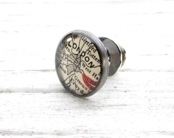 CUSTOM Antique Map Tie Tack Sterling Silver