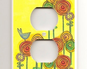 Single Plug -  Abstract Blue Bird, Circle Flowers on Yellow Background