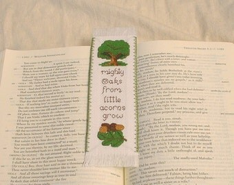 Mighty Oaks from Little Acorns Grow – cross stitch bookmark pattern