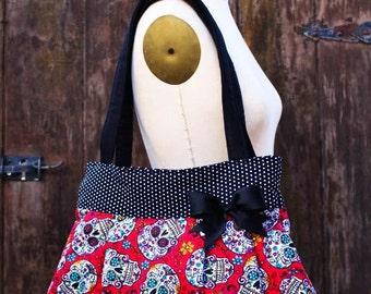 Red Polka Dot Sugar Skull Purse,Sugar Skull Diaper Bag, Rockabilly Purse