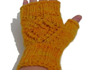 Yellow Lace Wrist Warmers - Hand Knit Fingerless Mittens - Wool