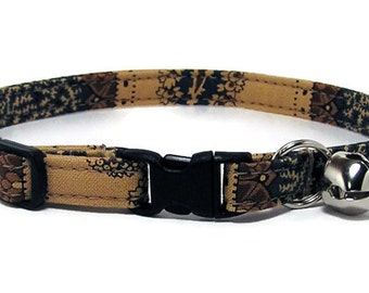 Cat Collar - Tan and Navy Vintage Paisley - Breakaway Safety Cute Fancy Cat Kitten Collar