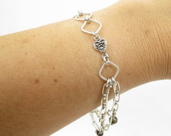 Sterling Silver Chain and Marcasite Heart Christian Bracelet - Grey Smoky Quartz Stones, Silver Cross - Door Post of the Heart Collection