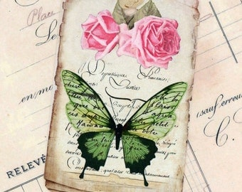 Green Butterfly Tags , Vintage Tags , Rose , Green and Pink Tags , Shabby Gift Tags , Wedding Tags