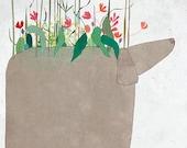 Creature N - Art -Print of an original illustration - dog - flowers